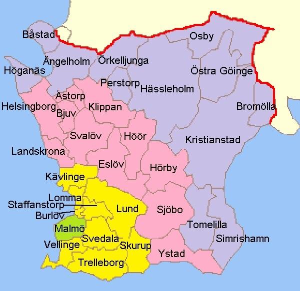Skånekarta med zoner